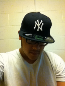Me wearing Yankee hat