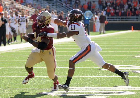 Andre Williams #44 of the Boston College Eagles runs for a touchdown in the first quarter against the Virginia Tech Hokies at Alumni Stadium. November 2, 2013 in Chestnut Hill, Massachusetts. The Eagles won the game 34-27. (Darren McCollester/Getty Images North America)